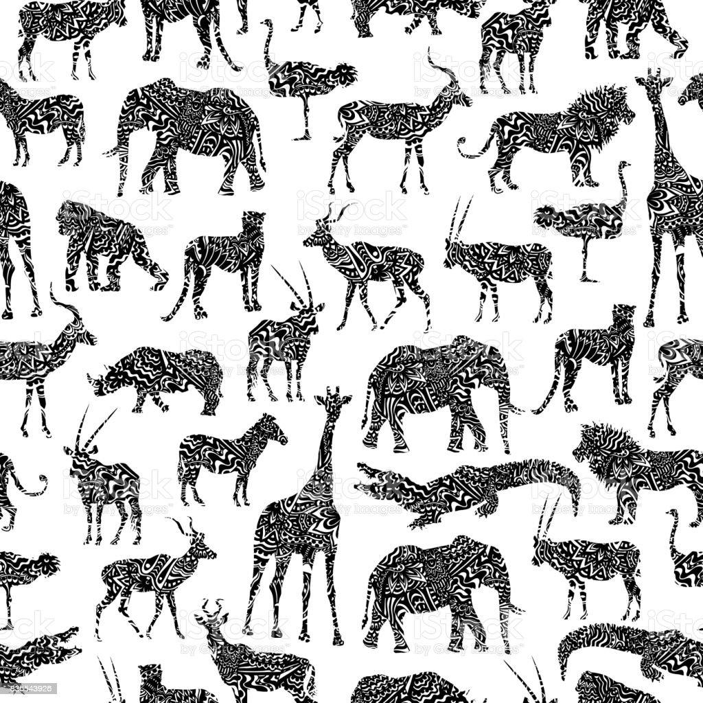 黒のアフリカ動物を観賞用のシームレス パターン ベクターアートイラスト