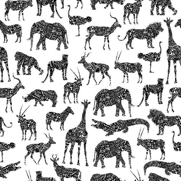 黒のアフリカ動物を観賞用のシームレス パターン - 野生動物旅行点のイラスト素材/クリップアート素材/マンガ素材/アイコン素材