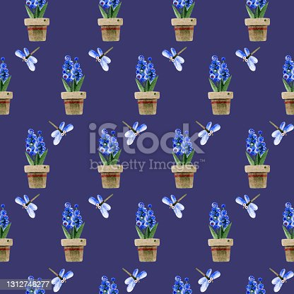 istock Seamless pattern with blue potted hyacinths and cute dragonflies. Village scene. Hand-drawn watercolor illustrations on a blue background. For design of wallpaper, wrapping paper, covers, textiles. 1312746277