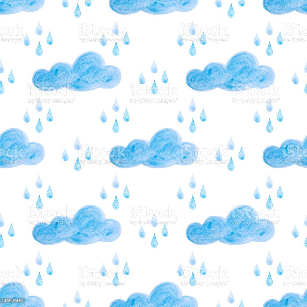 青い水彩雲と雨とのシームレスなパターン手描きの背景 のイラスト素材
