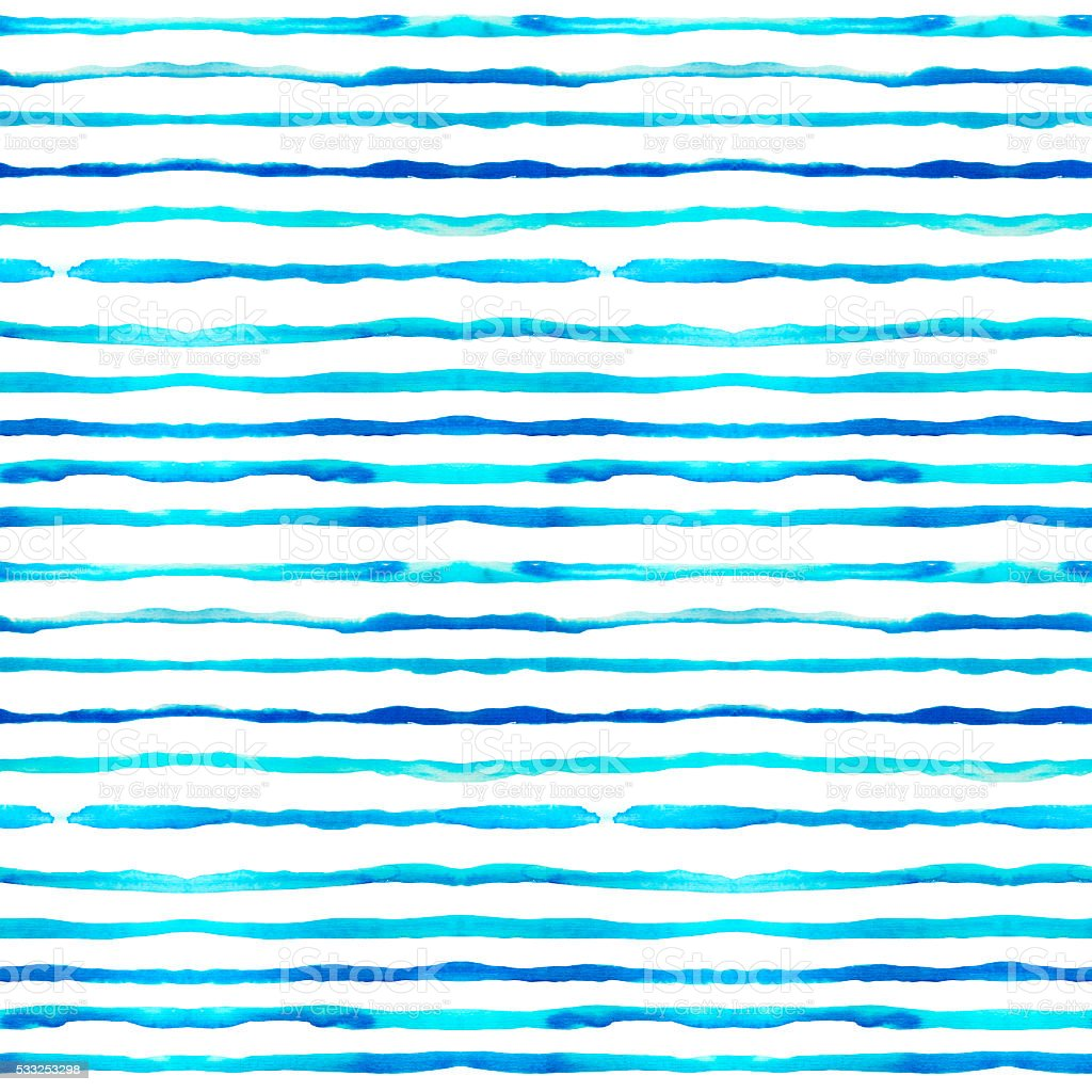 Seamless pattern with blue watercolor lines. vector art illustration