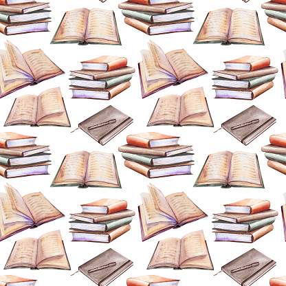 Seamless pattern with book stacks.