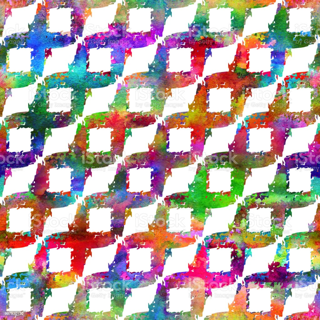 Seamless Pattern With Brush Stripe Plaid Rainbow Watercolor Color On