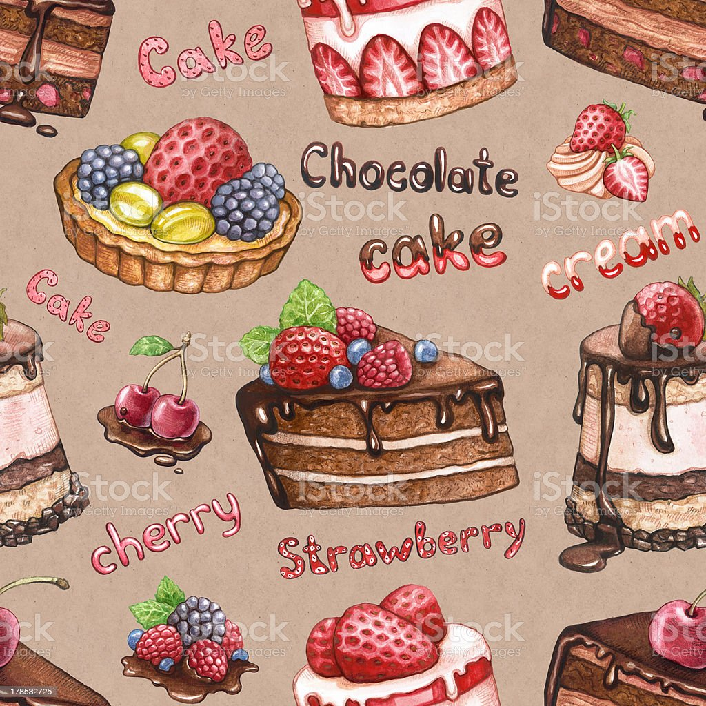 nahtlose muster mit kuchen illustrationen lizenzfreies nahtlose muster mit kuchen illustrationen stock vektor art und mehr - Kuchen Muster