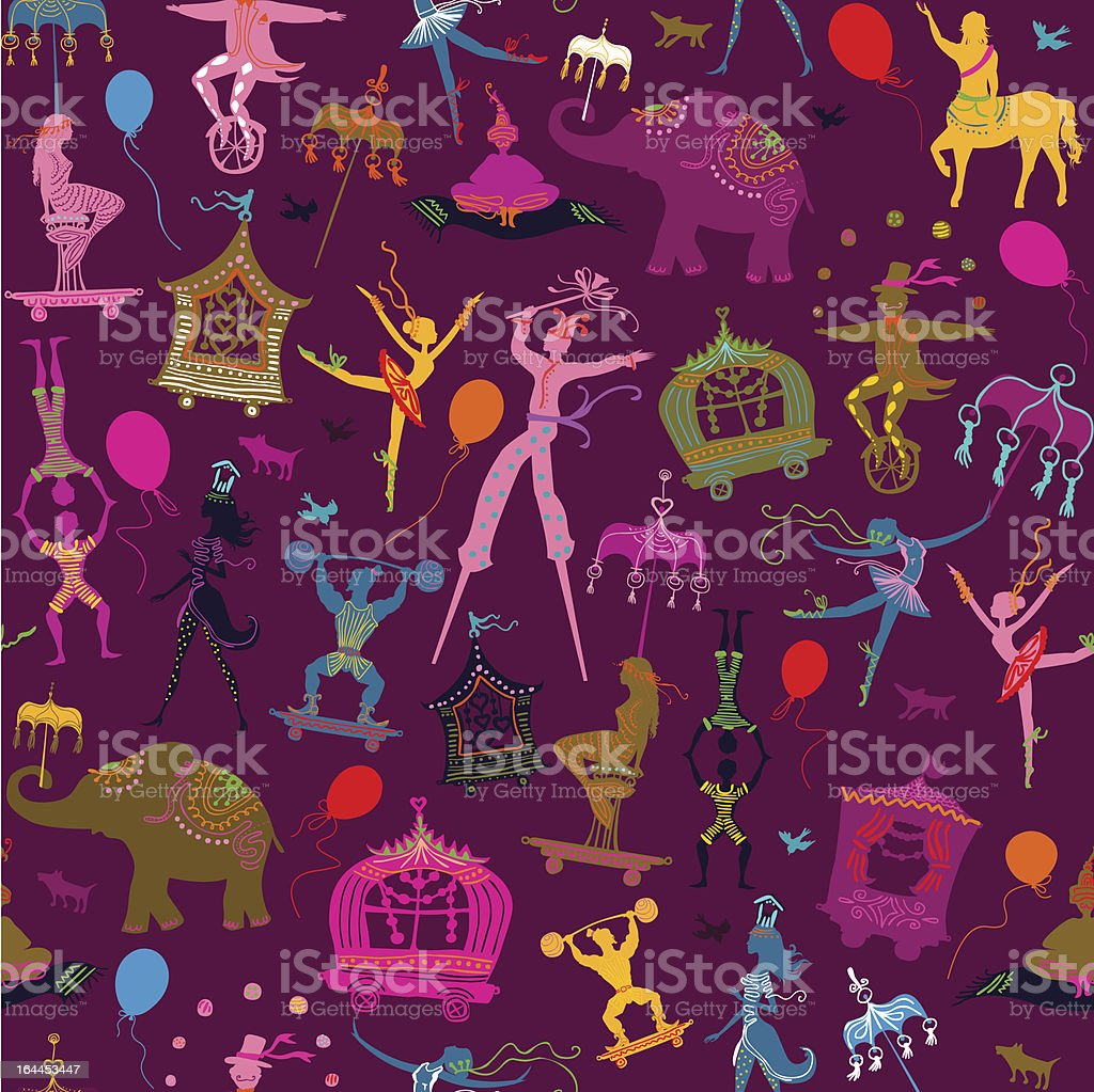 seamless pattern with carnival people vector art illustration