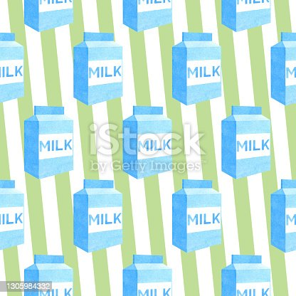 istock Seamless pattern with cartons of milk. Eco health food. Creative scandinavian childish texture. Watercolor illustrations on striped background. For fabric, textile, websites, wrapping, prints, cards. 1305984332