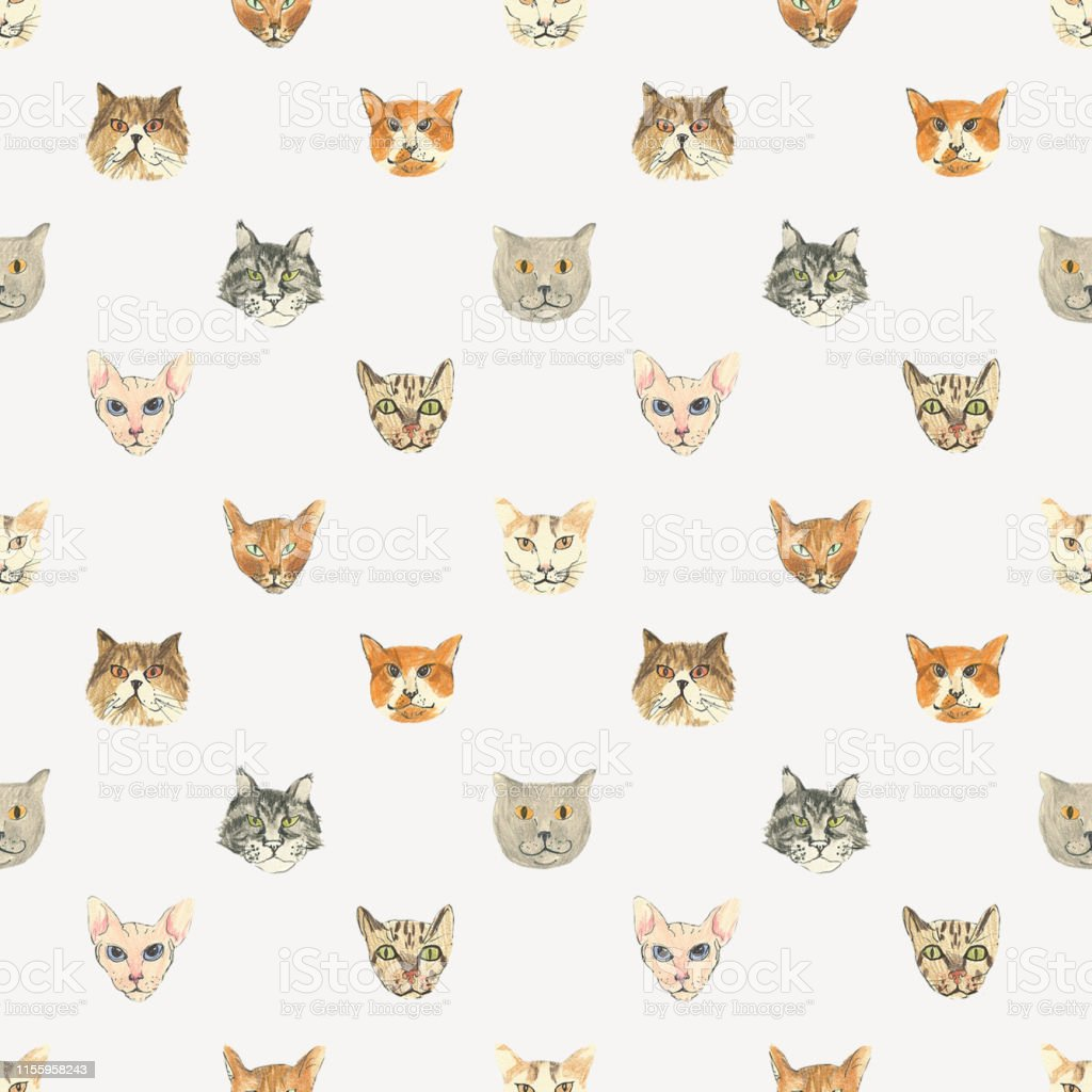 Pattern with funny cats can be used for fabric design and packaging...