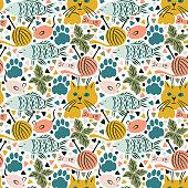 istock Seamless pattern with cats life objects Stylish geometric design 1329835904