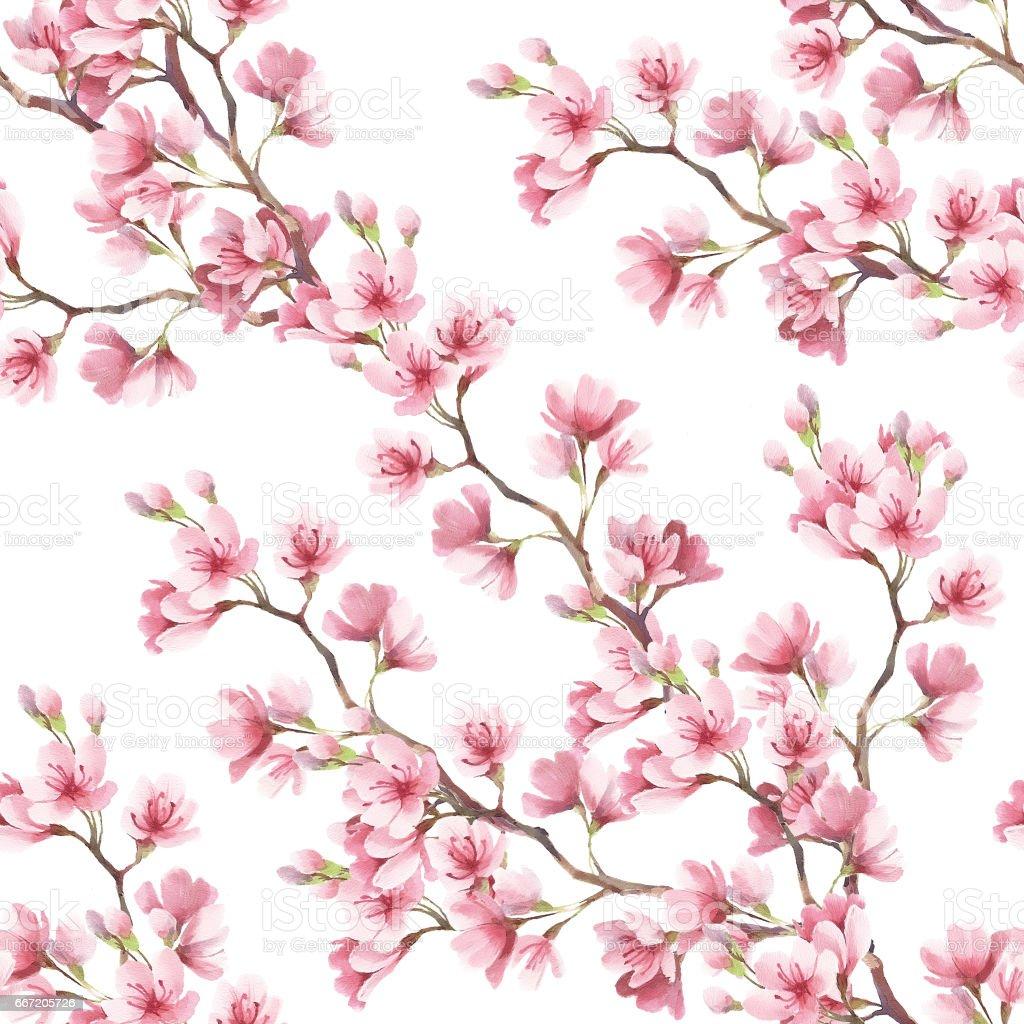 Kiraz çiçekleri Ile Seamless Modeli Sulu Boya Resim Stok Vektör