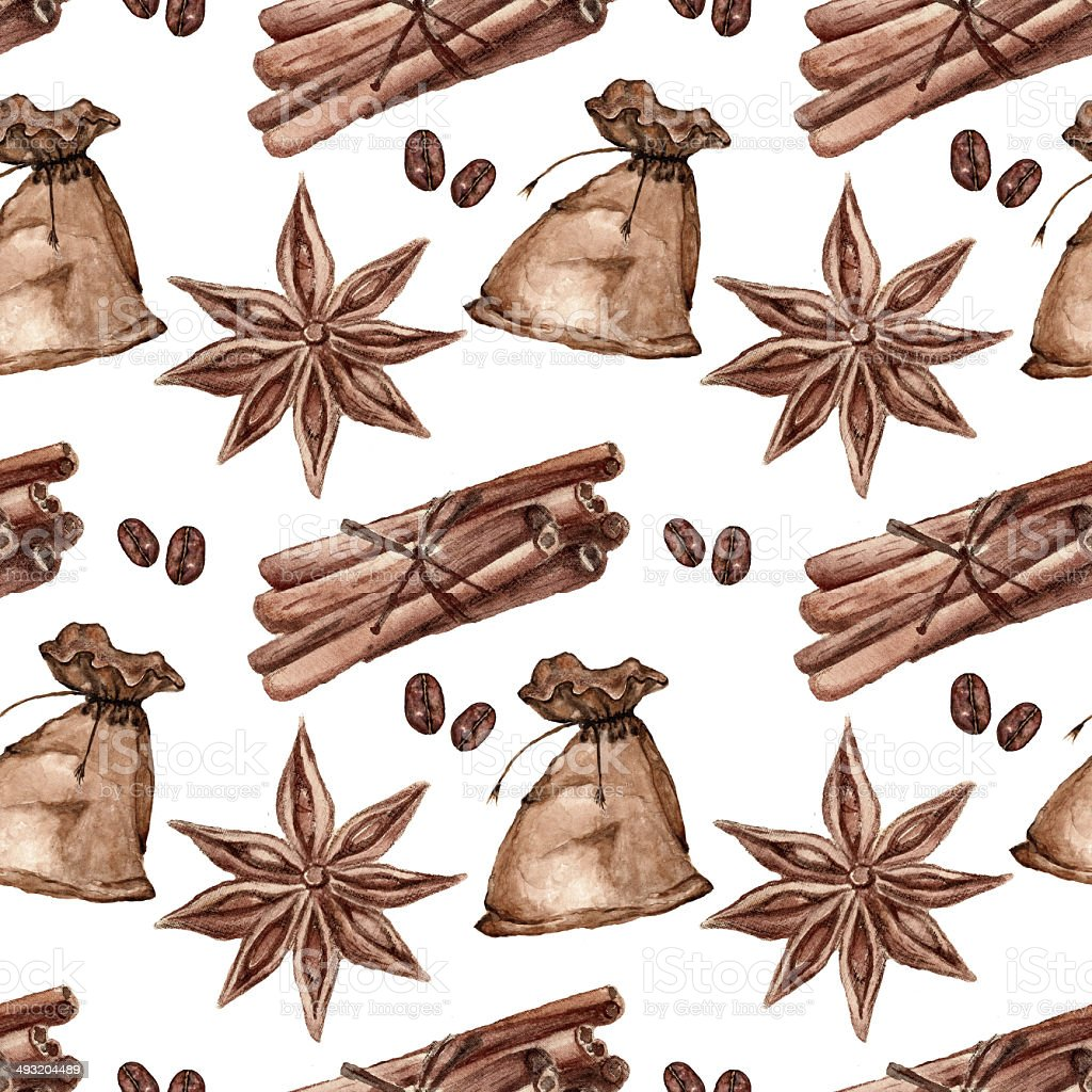 Seamless pattern with cinnamon, star anise, spices vector art illustration