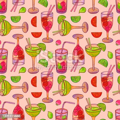 istock Seamless pattern with cocktails with straws and fruit. 1331111856