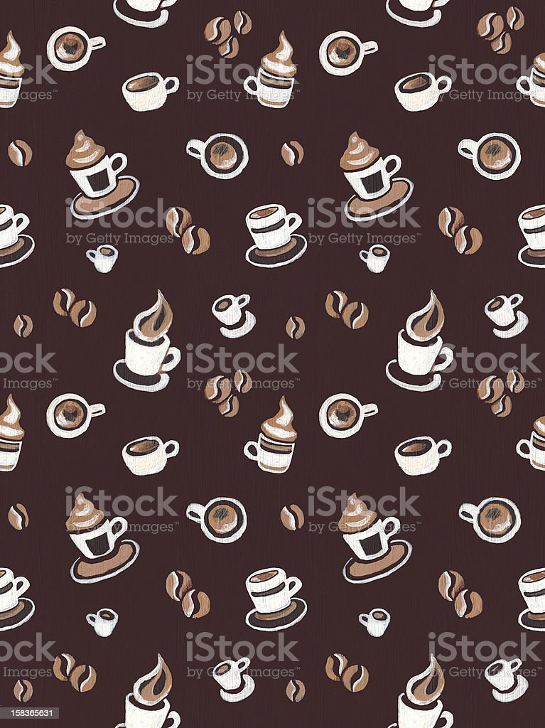 Seamless pattern with coffee beans and cups royalty-free stock vector art