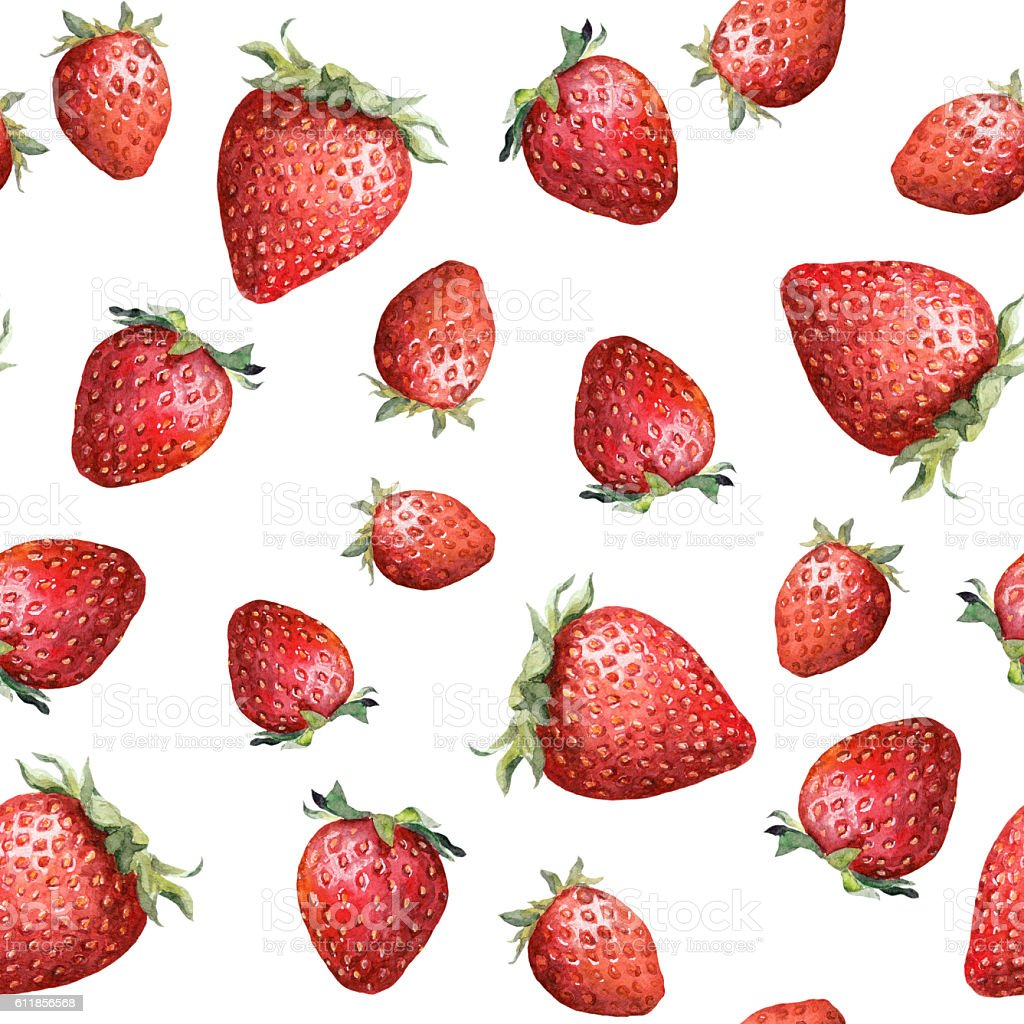 Seamless pattern with colorful strawberry. Aquarelle vector art illustration