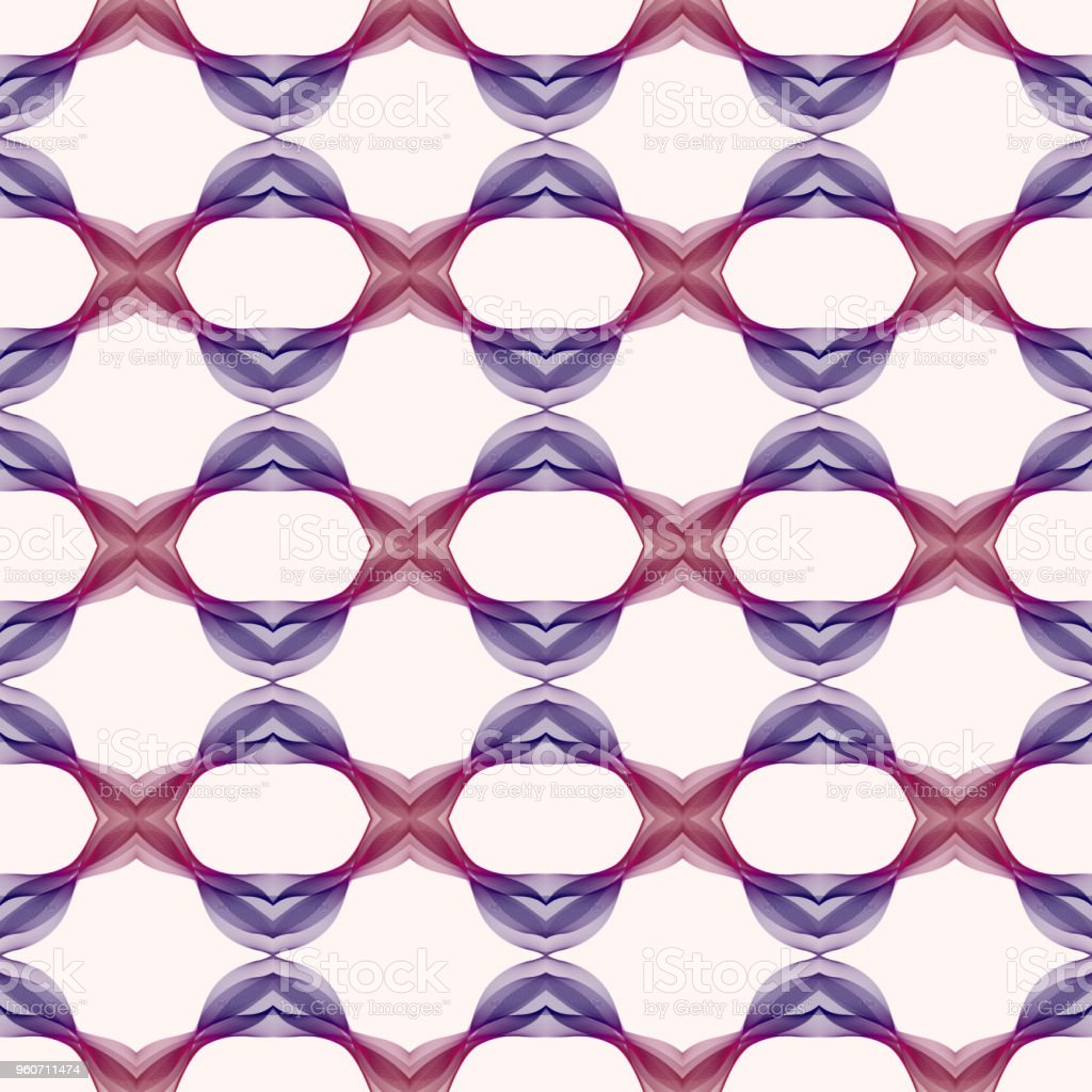 Seamless pattern with creative waving shapes. Abstract kaleidoscope background in burgundy, purple, ultra violet tones. Line art symmetric ornament. Template for fashion design, textile, wallpapers, wrapping paper, scrapbooking, web pages векторная иллюстрация