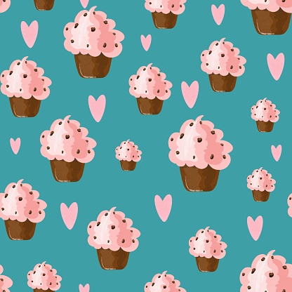 Seamless pattern with cute chocolate cupcakes and pink hand drawn hearts