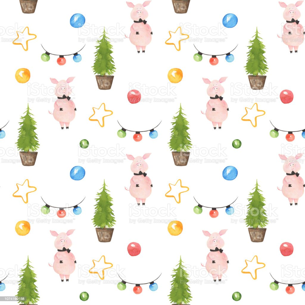 Seamless Pattern With Cute Pig With Bow Tie Christmas Tree