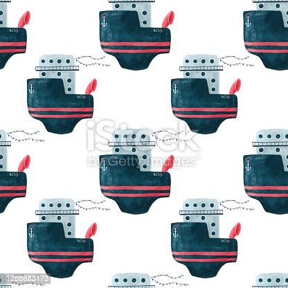 Seamless pattern with cute vintage cruise ship with anchor and flags. Bright red and blue colored illustration.