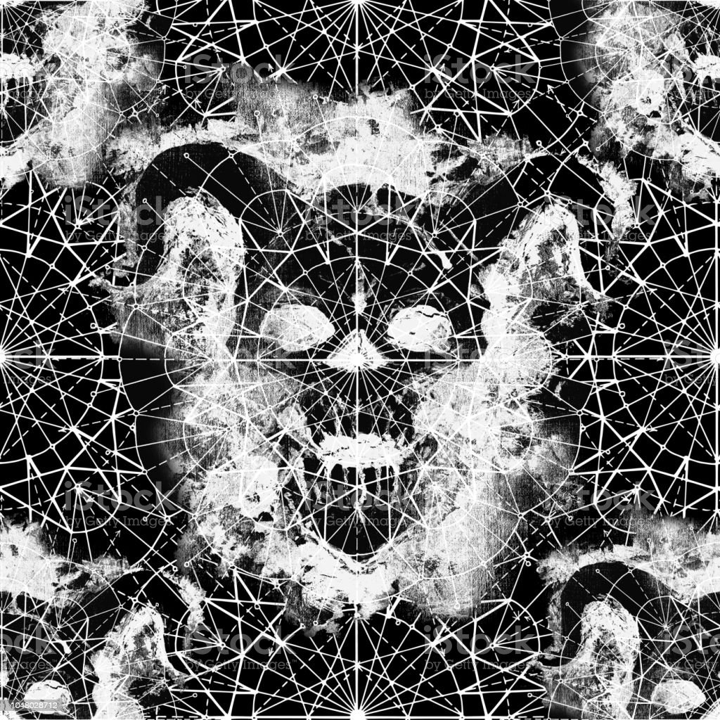 seamless pattern with demon skull silhouette and compass circle