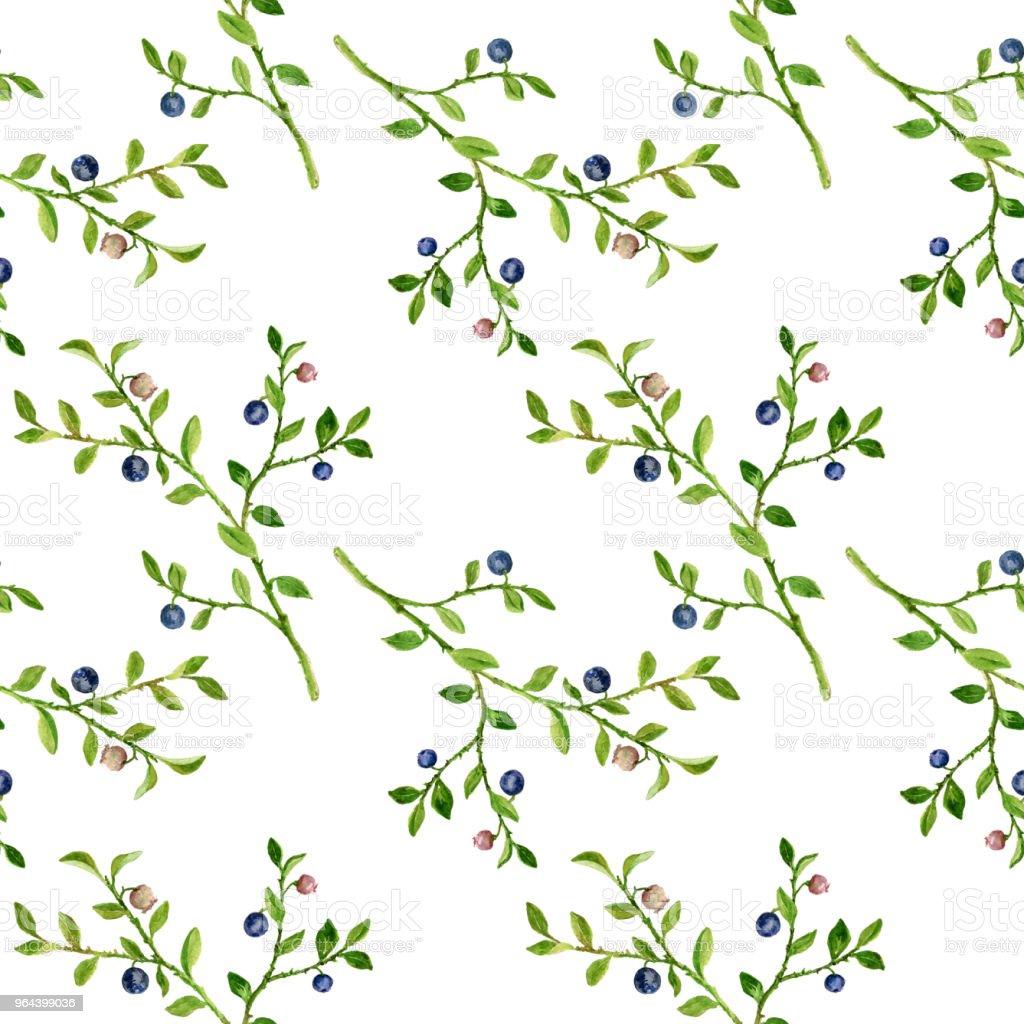 Naadloze patroon met de opstelling van de fabriek van bosbessen - Royalty-free Achtergrond - Thema Stockillustraties