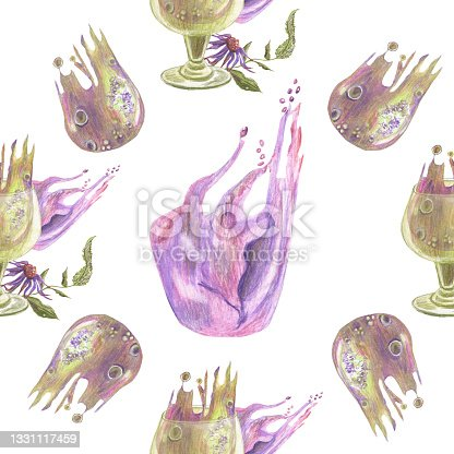 istock Seamless pattern with drinking glasses, and abstract color spots made in the technique of colored pencils. Purple and warm green color. Hand drawn. 1331117459