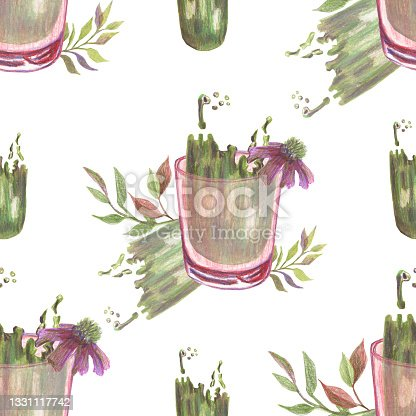 istock Seamless pattern with drinking glasses, dried branches, flowers and abstract stains made in the technique of colored pencils. Pirple and warm green color. Hand drawn. 1331117742