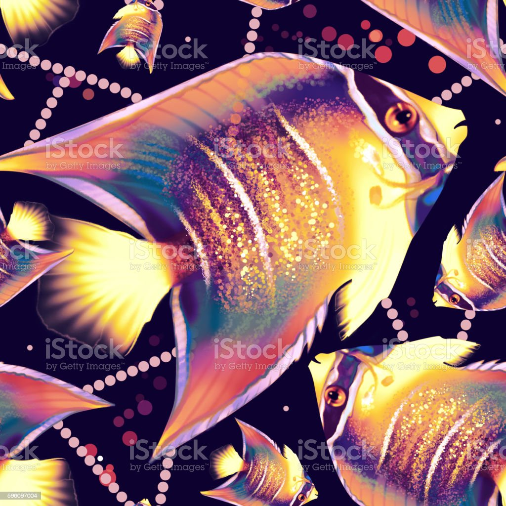 Seamless pattern with fish and dots royalty-free seamless pattern with fish and dots stock vector art & more images of animal markings