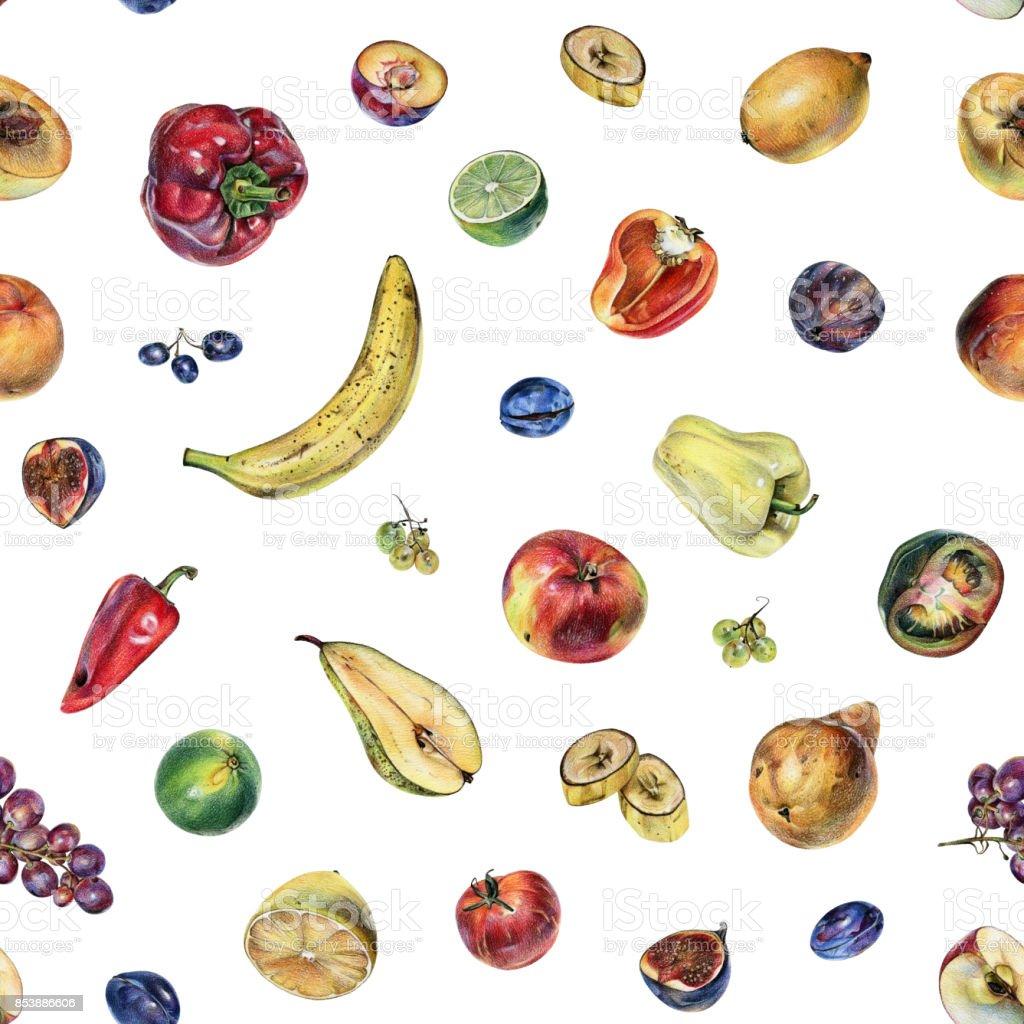 果物果実野菜の着色された鉛筆で手書きのシームレス パターン はけ筋の