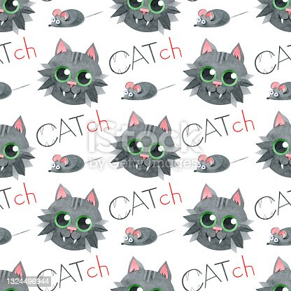 """istock Seamless pattern with funny black cats, cute mice and """"catch"""" letterings. Hand-drawn watercolor illustrations on a white background. For designer textiles of the children's room, wrapping paper. 1324496944"""