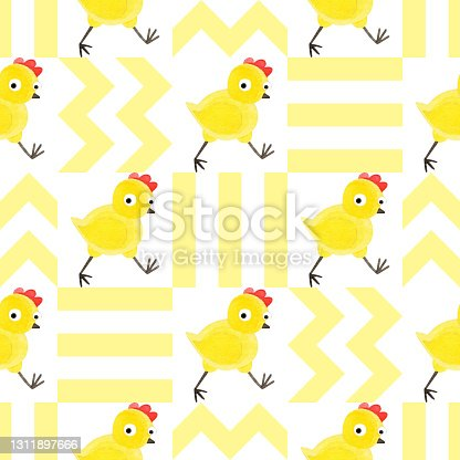 istock Seamless pattern with funny yellow chickens. Creative Scandinavian children's texture. Watercolor illustrations on a checkered background. Great for fabrics, textiles, websites, wallpaper, packaging. 1311897666