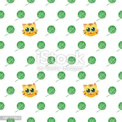istock Seamless pattern with ginger cat and a green balls of thread. Creative scandinavian childish texture. Watercolor illustrations on a white background. For handmade craftsmen, for knitters blog design. 1322857512