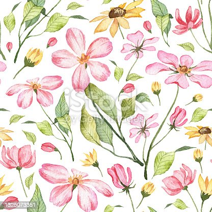 istock Seamless pattern with hand painted watercolor flowers 1325073351