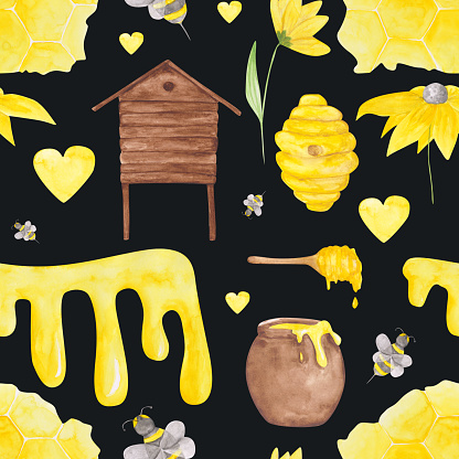 Seamless pattern with honey bee, honeycomb, yellow flowers, hive, honey dripper, heart, apiary on a black background. Watercolor bee farm illustration. Beekeeping endless print.