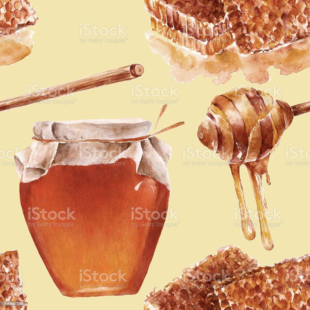Seamless pattern with honey. Watercolor illustration. vector art illustration