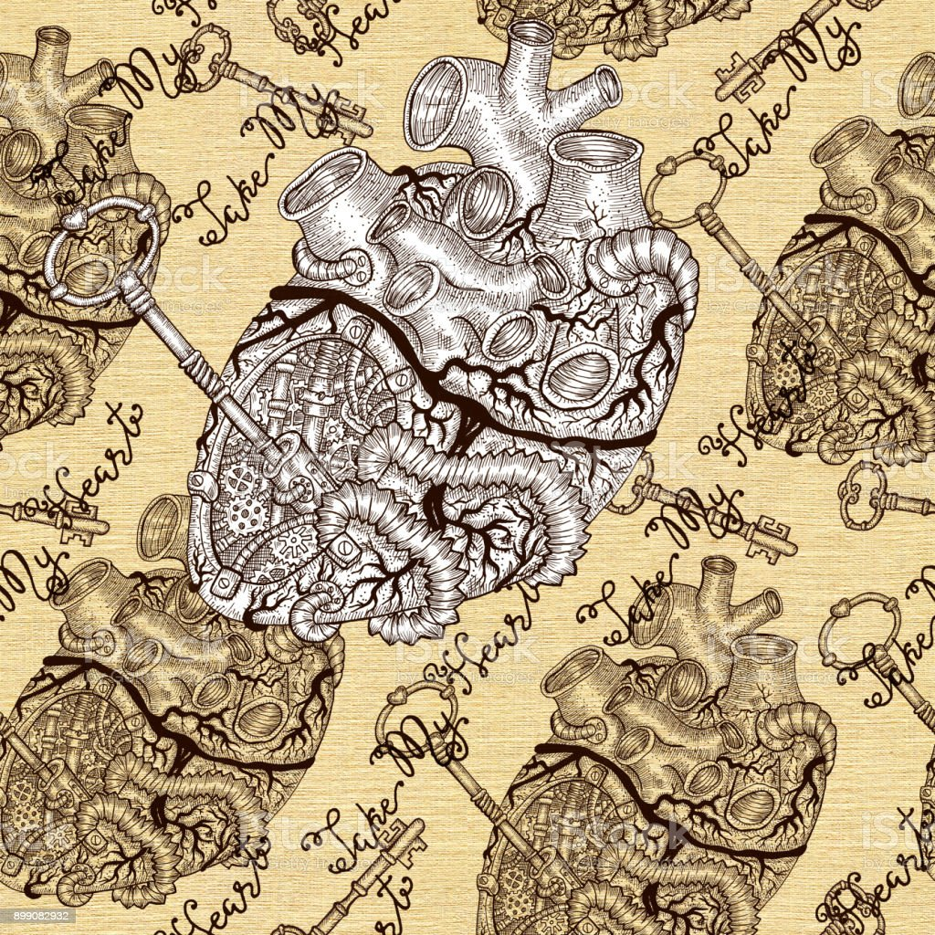 Seamless Pattern With Human Heart With Key And Steampunk Mechanical ...