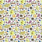 Seamless pattern with ingredients for hot winter drinks such as grog, punch, mulled wine, menu