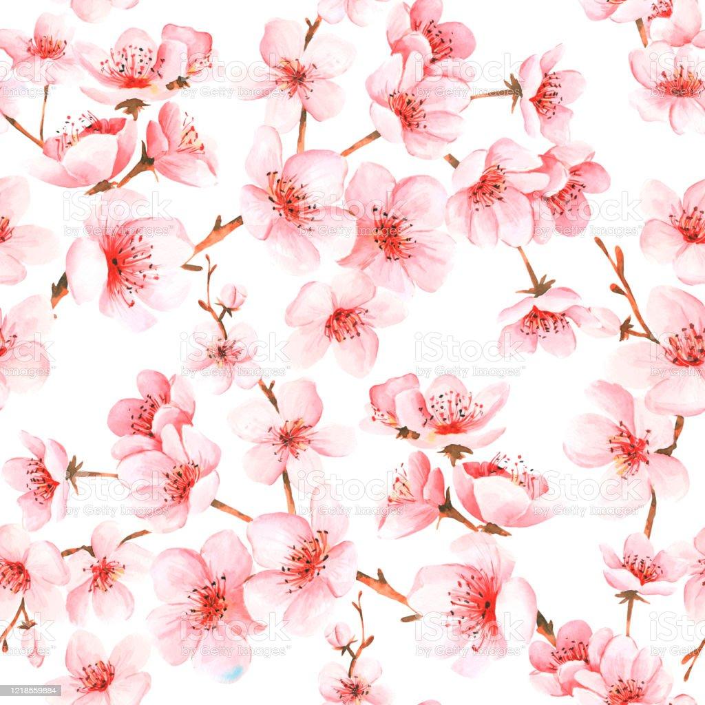 ピンクの花を持つ日本の桜とシームレスなパターンテキスタイル壁紙包装紙の桜の背景 イラストレーションのベクターアート素材や画像を多数ご用意 Istock