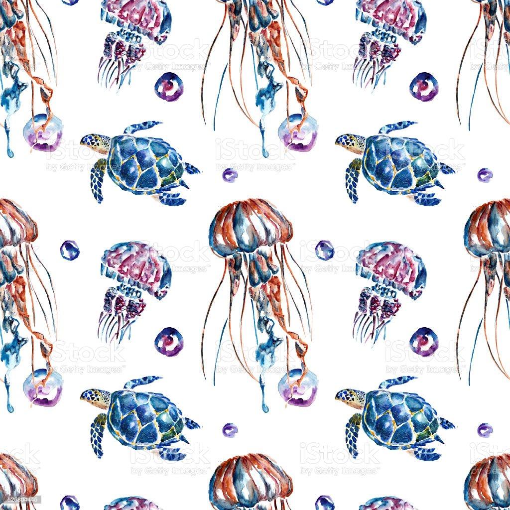 Ilustración de Patrón Sin Costuras Con Medusa Y Tortugas y más banco ...