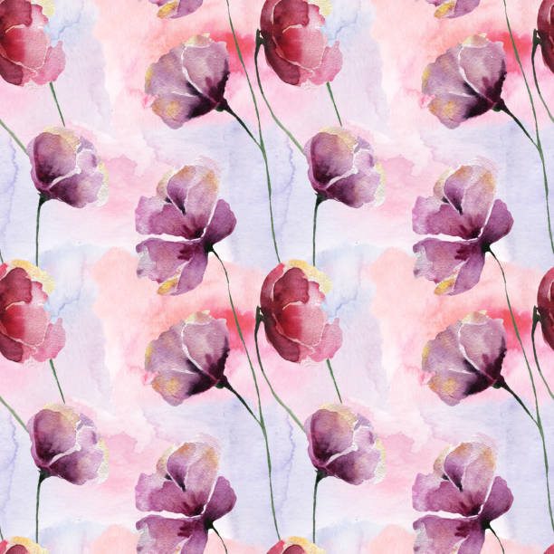 Seamless pattern with large colors on a watercolor background. vector art illustration