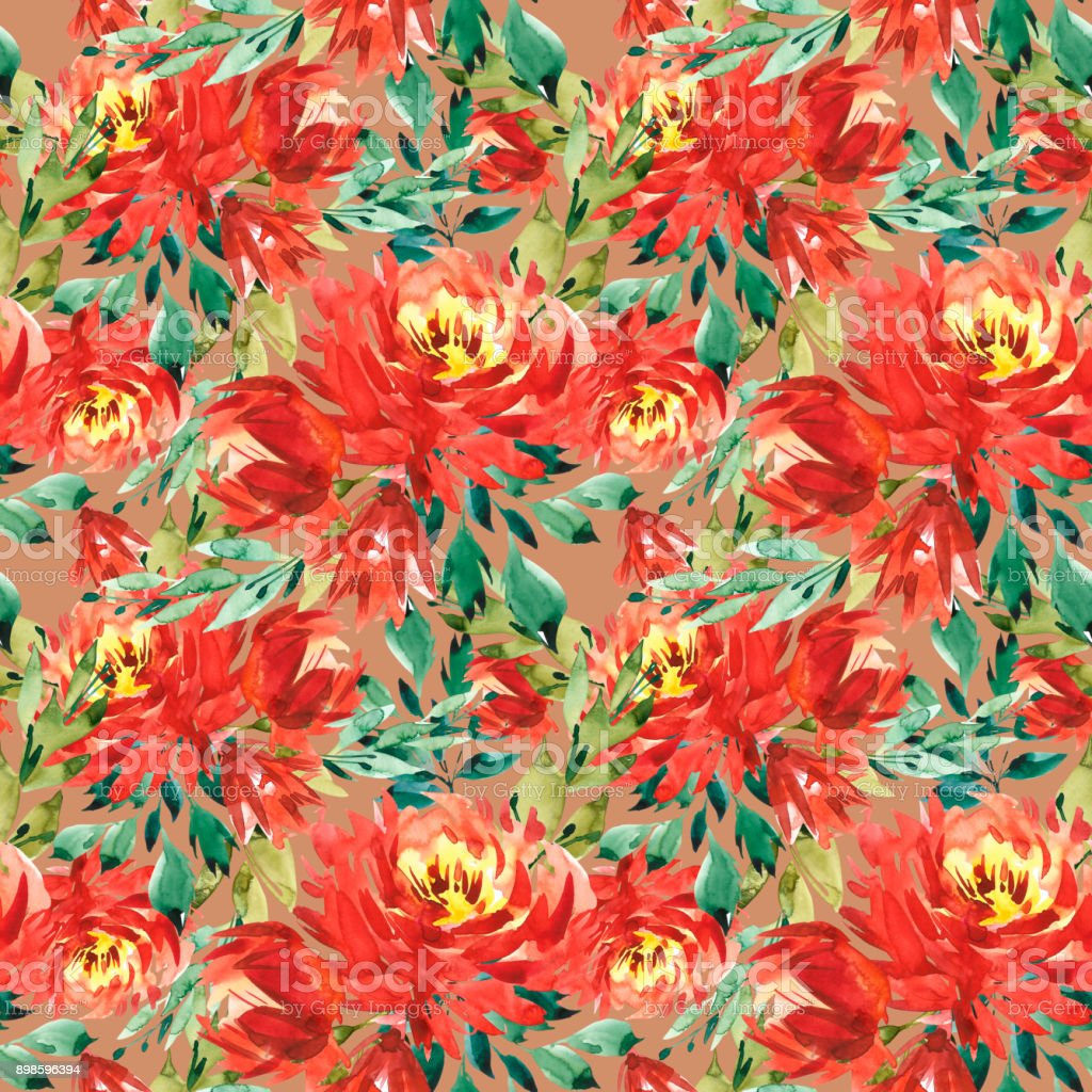 Seamless Pattern With Large Watercolor Flowers By Red Peonies ...