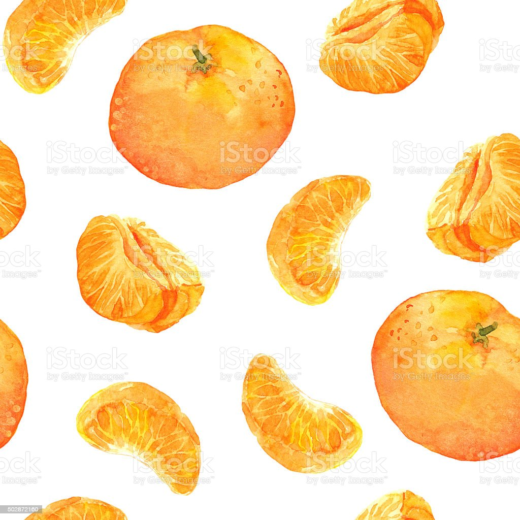 Seamless pattern with mandarin orange fruits vector art illustration