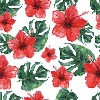 Seamless Pattern With Monstera Leaves And Hibiscus Flowers