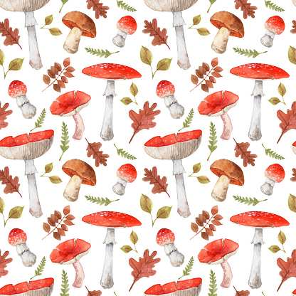 Seamless pattern with mushrooms and leaves. Forest themed hand painted illustration
