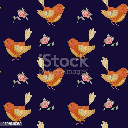 istock Seamless pattern with orange bird. Decorative cute sparrow on a blue background with flowers. Watercolor. Illustration Hand drawing for design, decor, textiles, wallpaper, packaging 1326916382