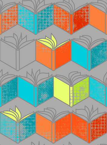 Seamless pattern with orange. lime and blue  open books on grey background