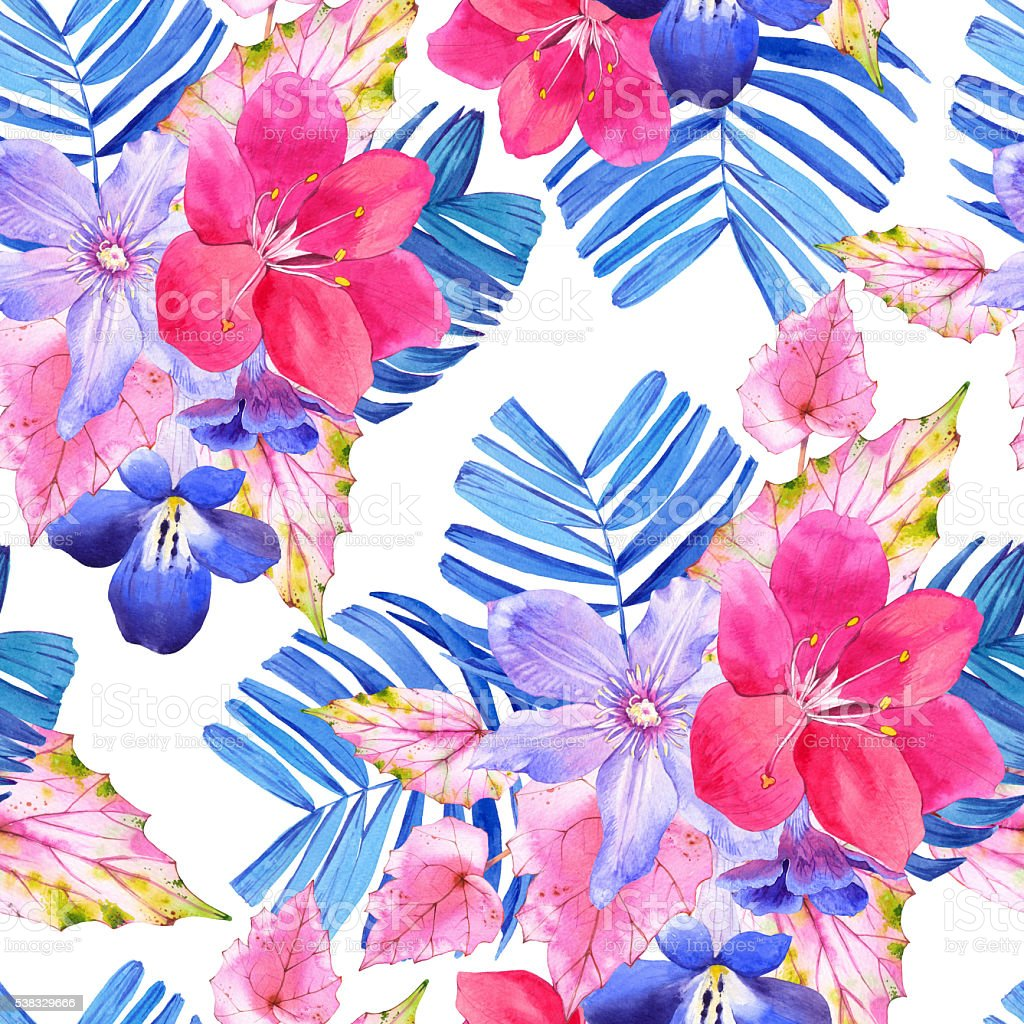Seamless pattern with pink and blue realistic watercolor flowers seamless pattern with pink and blue realistic watercolor flowers royalty free seamless pattern with izmirmasajfo