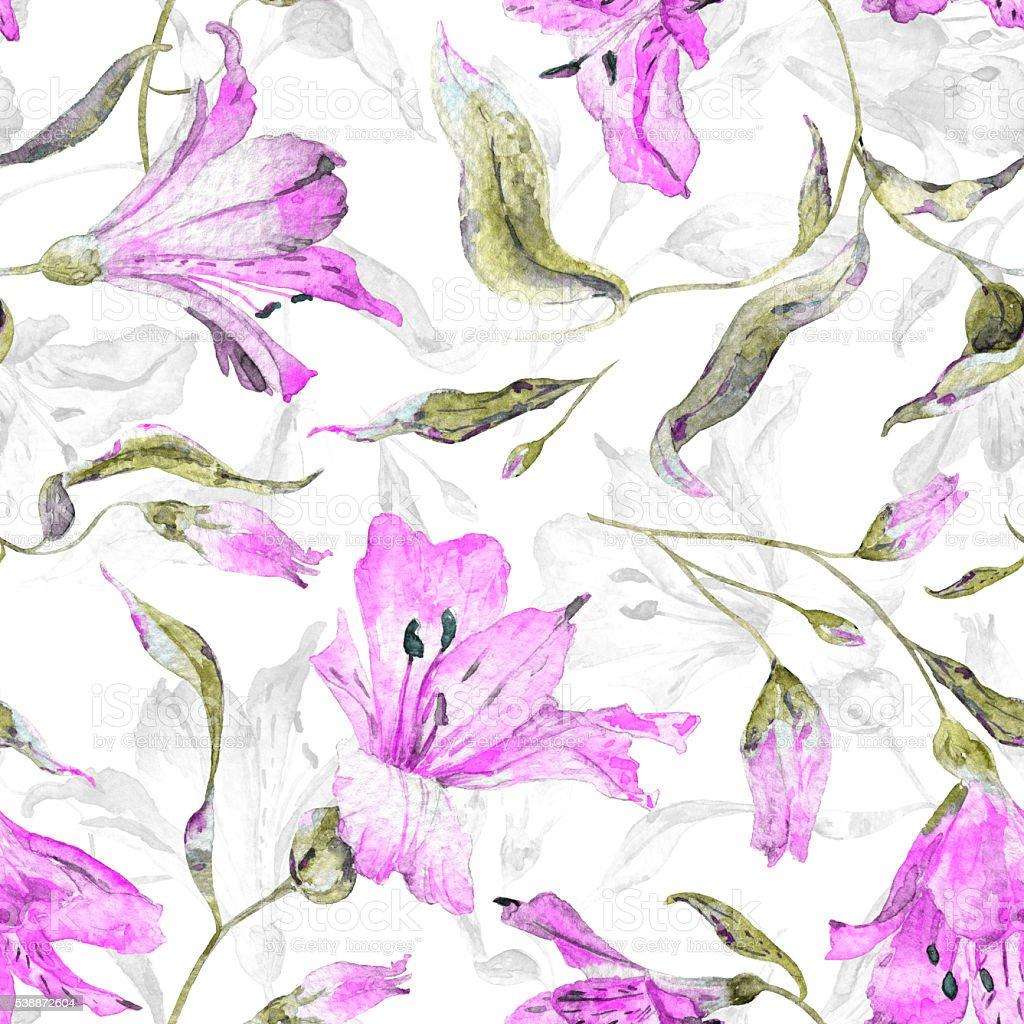 Patrón continuo con rosa lilies. - ilustración de arte vectorial