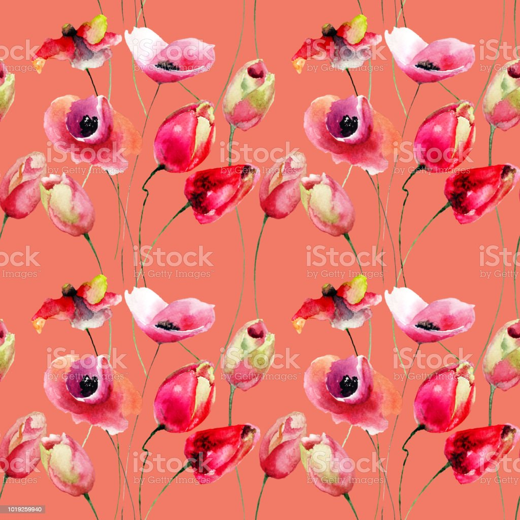 Seamless pattern with Poppy and Tulips flowers vector art illustration