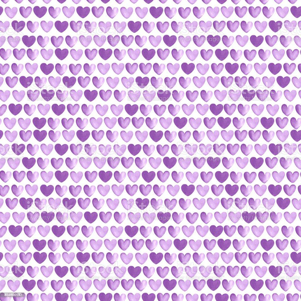 seamless pattern with purple hearts vector art illustration