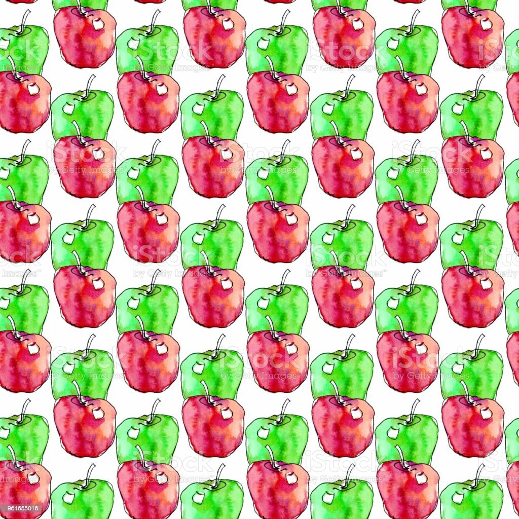 Seamless pattern with red and green watercolor apples royalty-free seamless pattern with red and green watercolor apples stock vector art & more images of art