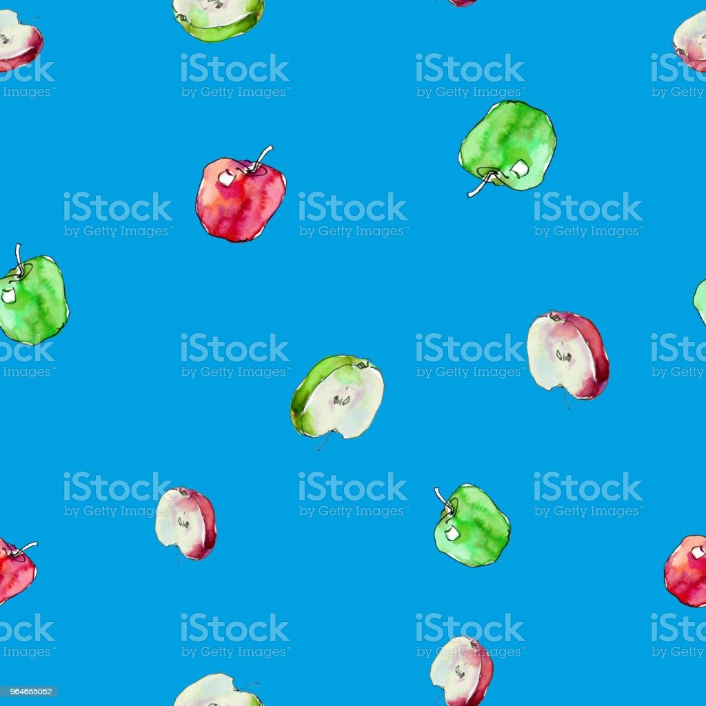 Seamless pattern with red and green watercolor apples. royalty-free seamless pattern with red and green watercolor apples stock vector art & more images of art